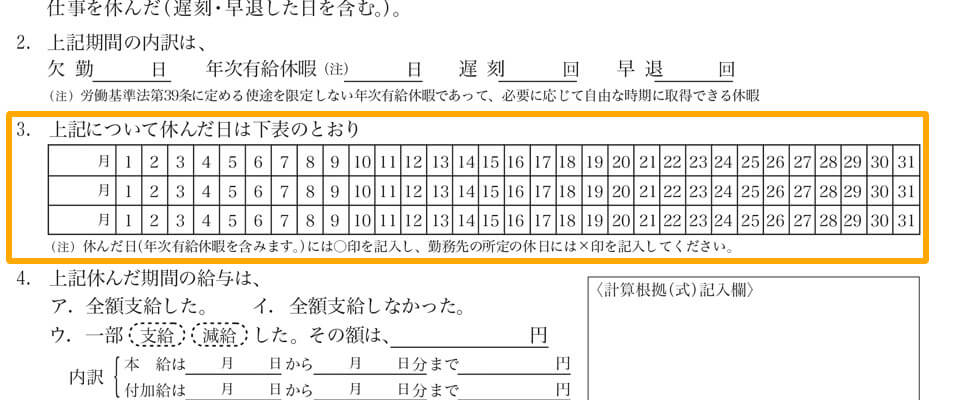 「3. 上記について休んだ日は~」の部分に○、×、△等を記入します